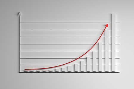 Illustration with statistics elements. Growing exponential function with red arrow. 3d illustration.