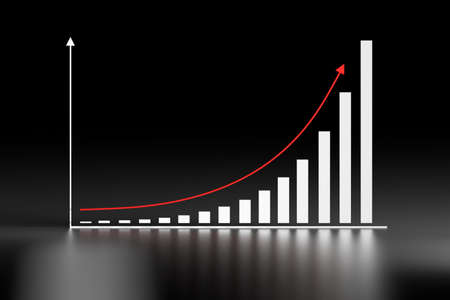 Illustration with exponential growth chart and red arrow on dark black background. 3d illustration. Stock Illustration - 120657126