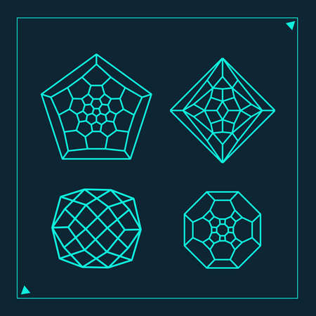 Four geometric shapes figures made of lines. Cyan math shapes.