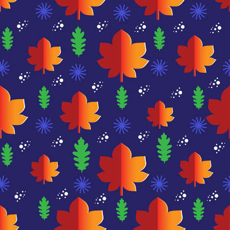 Vector seamless pattern with autumn leaves, duo colored oak and maple leaves in red, green and pale yellow colors. Good for textile and wrapping paper.
