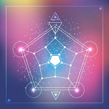 Ilustración vectorial eps10 de geometría sagrada hipster en el fondo rosa y azul degradado de ensueño borroso. Símbolos matemáticos polígonos y círculos, triángulos. Ilustración de vector