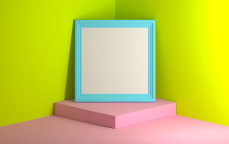 Blue image photo frame standing on the pink podium next to vibrant green walls. Frame with copy blank space. Good for mock up presentations. 3d illustration. Stockfoto