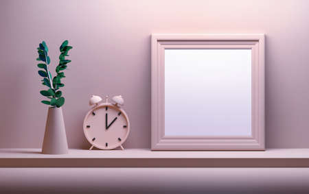 Mock up with flower in a vase, bell clock and empty blank picture image frame in gentle pink colors. 3d illustration.