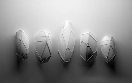 Background with abstract gemstones. Crystals with wireframe on top in black and white color. 3d illustration.