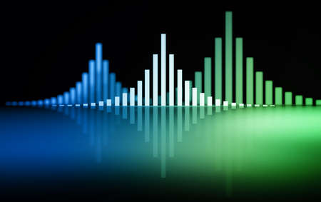 Sound waves bars over reflective surface. Image with blue blue green gradient. 3d illustration.