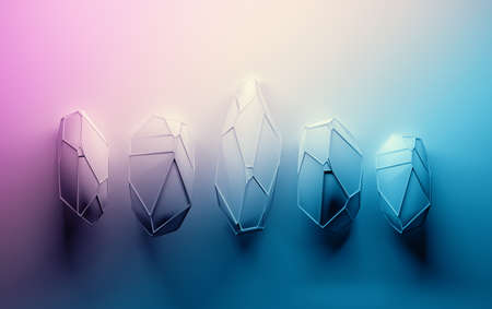 Background with abstract gemstones. Crystals with wireframe on top. Image with pink blue color gradient. 3d illustration. Stockfoto