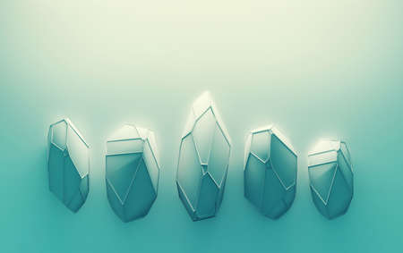 Abstract background with gemstones. Crystals with wireframe on top. 3d illustration.
