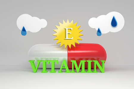 Medical food vitamin D supplements concept - large capsule pill, sun and clouds with word vitamin. 3d illustration.