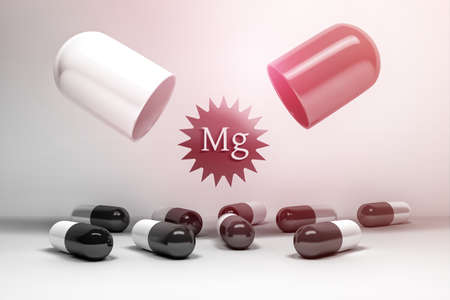 Mineral magnesium food supplements. Large medical capsule with Mg letters and many small pills. 3d illustration. Stock Photo