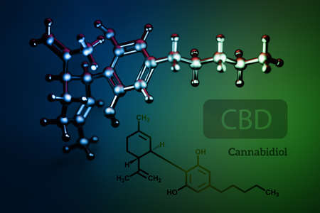 Abstract background with CBD cannabidiol chemical structures. Molecules of cannabis plant. 3d illustration.