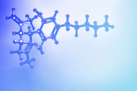 Abstract background with CBD cannabidiol chemical structure. Molecule of cannabis plant. Image with fog and blue effect in blue colors. 3d illustration. Foto de archivo - 121939407