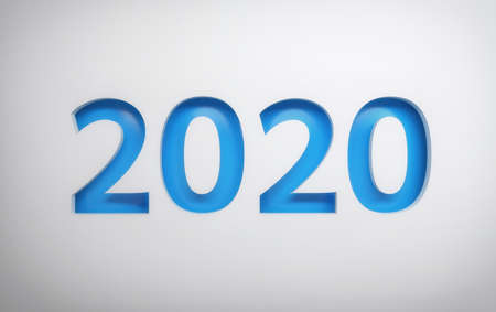 New Year greeting card with blue 2020 digits on white background. 3d illustration.