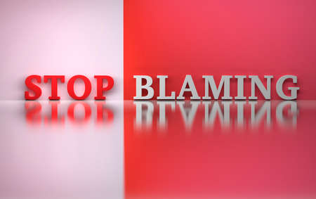 Words Stop blaming in red and white colors over reflective surface. 3d illustration.