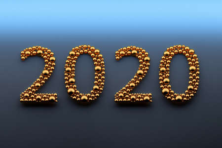 New Year greeting card with 2020 numbers digits made of golden spheres on dark background. Image with blank copy space. 3d illustration. Banco de Imagens