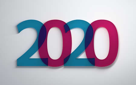 Simple minimalistic New Year greetings with large transparent blue and pink 2020 numbers on white background. 3d illustration.