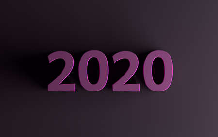 Simple minimalistic greeting card with purple 2020 numbers on dark purple background. 3d illustration.