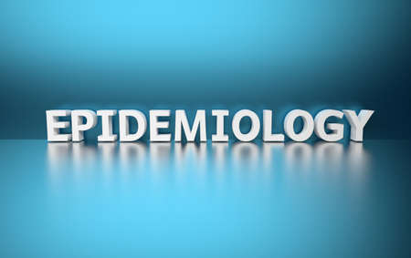 Word Epidemiology made of white letters on blue background. 3d illustration. Stock Photo