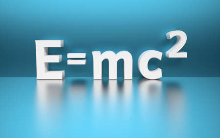 Simple illustration with famous Einsteins mass energy formula E= mc2 written in white letters on blue  background. 3d illustration.