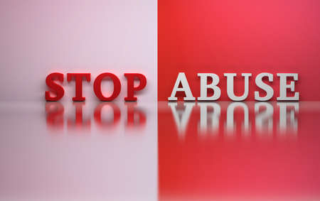 Words Stop Abuse in red and white colors over shiny reflective surface. 3d illustration.