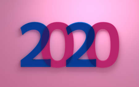 Simple minimalistic New Year greetings with large transparent blue and pink 2020 numbers on pink background. 3d illustration. Фото со стока
