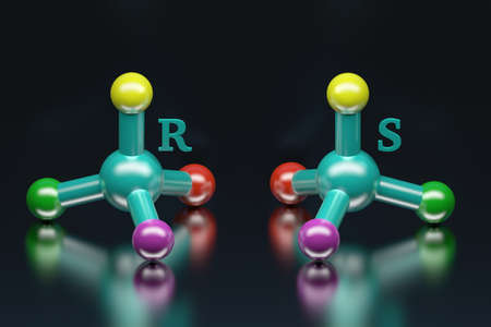 Science concept of simple colorful molecules. Presentation of stereoisomers enantiomers with letters R and S standing for rectus and sinister. 3d illustration. Banco de Imagens