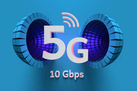 Illustration of 5G new data technology. Large white 5g letters with a futuristic blue structured sphere on blue background. 3d illustration. 版權商用圖片