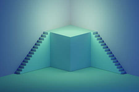 Illustration with blue square pedestal podium and stairs on blue background. Image with copy blank space. 3d illustration. Banque d'images - 122939212