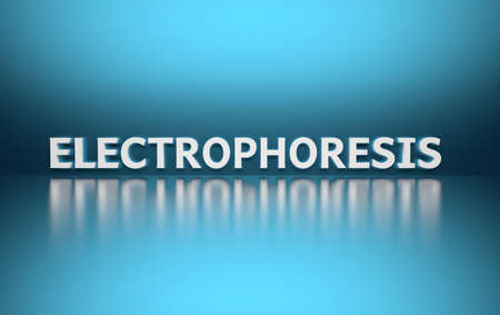 Word Electrophoresis written in large bold white letters and placed on blue background over reflective surface. 3d illustration.