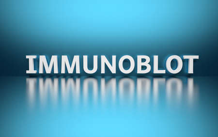 Word Immunoblot written in large bold white letters and placed on blue background over reflective surface. 3d illustration. Stock Photo