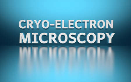 Word Cryo-Electron Microscopy written in large bold white letters and placed on blue background over reflective surface. 3d illustration.