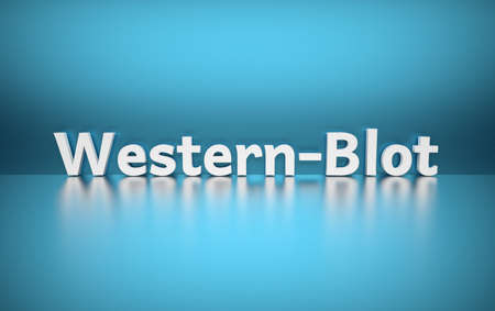 Word Western-Blot written in large bold white letters and placed on blue background over reflective surface. 3d illustration.