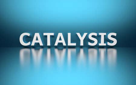 Word Catalysis written in large bold white letters and placed on blue background over reflective surface. 3d illustration.