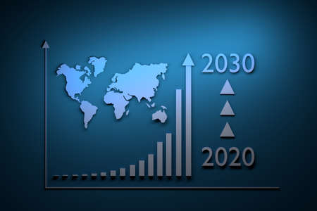 Illustration with growth infographics - exponential growth over period from 2020 to 2030 and world map on blue background. 3d illustration.