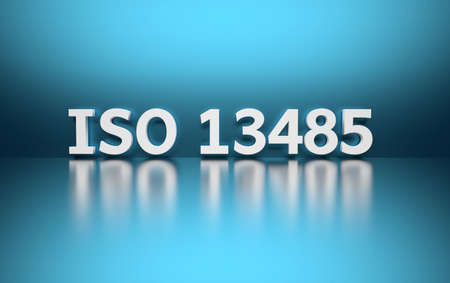 Intentational standard. Word ISO 13485 written in white bold letters standing on blue shiny reflective surface. 3d illustration.