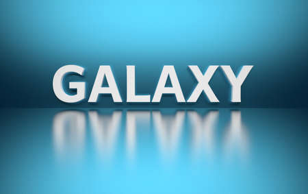 Word Galaxy written in white bold letters standing on blue shiny reflective surface. 3d illustration.