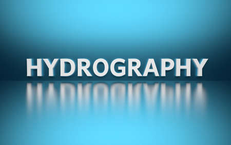 Word Hydrography written in white bold letters standing on blue shiny reflective surface. 3d illustration.