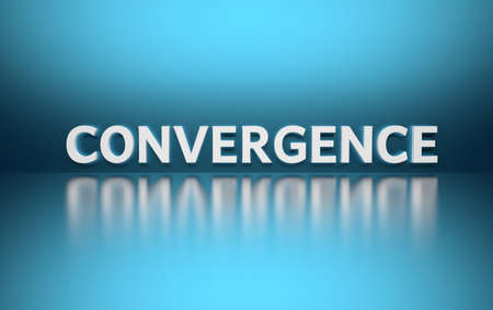 Word Convergence written in white bold letters standing on blue shiny reflective surface. 3d illustration. Stok Fotoğraf