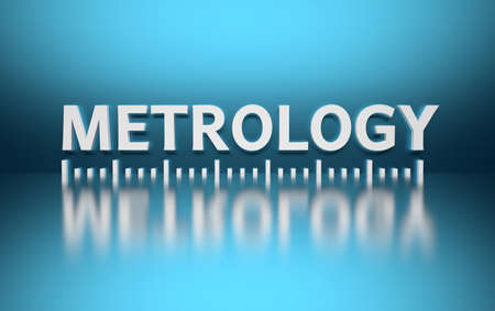 Word Metrology written in white bold letters on blue background with metering markup marking. 3d illustration.