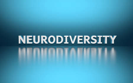 Word Neurodiversity written in white bold letters standing on blue shiny reflective surface. 3d illustration.