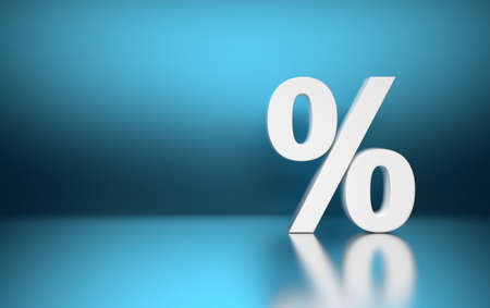 Large white percent percentage sign symbol standing on blue blurred shiny reflective surface. 3d illustration. Reklamní fotografie - 124897931