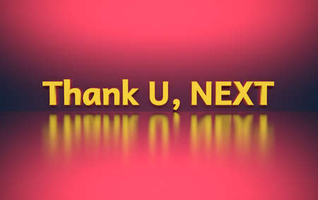 Words Thank you next written in white yellow letters standing on pink shiny reflective surface. 3d illustration.