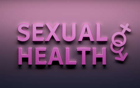 Words Sexual Health with male female sex gender signs written in pink bold letters on pink background. 3d illustration.