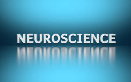 Word Neuroscience written in white bold letters standing on blue shiny reflective surface. 3d illustration.