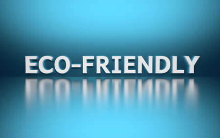 Word Eco-friendly written in white bold letters standing on blue shiny reflective surface. 3d illustration. Stock Photo