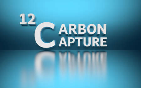 Word Carbon Capture written in white bold letters standing on blue shiny reflective surface. 3d illustration.