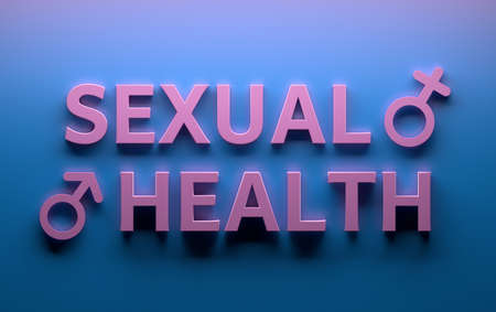 Words Sexual Health with male female sex gender signs written in pink bold letters on blue background. 3d illustration.
