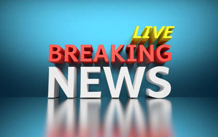 Words Breaking News LIVE written in bold red, white and yellow colors on blue shiny background. 3D illustration.