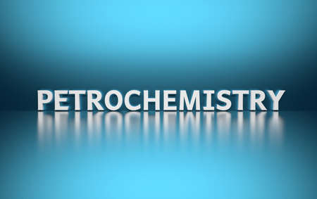 Word Petrochemistry written in white bold letters standing on blue shiny reflective surface. 3d illustration.