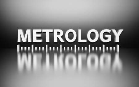 Word Metrology written in white bold letters on black background with metering markup marking. 3d illustration.