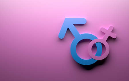 Male female gender symbols in pink and blue colors on pink background. Image with copy blank space. 3d illustration. Stock Illustration - 124898006